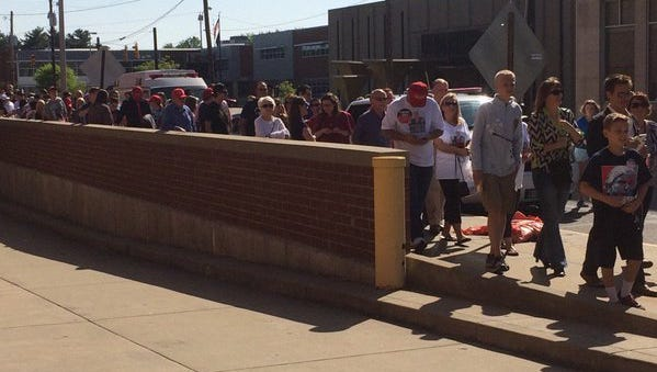 A line of people waits to get into Donald Trump's campaign rally in Evansville in 2016. Evansville police are advising the public that both car and foot traffic will be slow and parking limited in the hours leading up to the President's appearance here on Thursday.