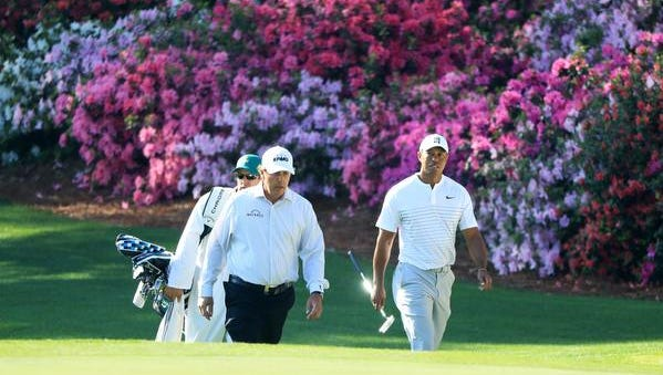 AUGUSTA, GA - APRIL 03:  Phil Mickelson of the United States and Tiger Woods of the United States walk onto the 13th green during a practice round prior to the start of the 2018 Masters Tournament at Augusta National Golf Club on April 3, 2018 in Augusta, Georgia.  (Photo by Andrew Redington/Getty Images)