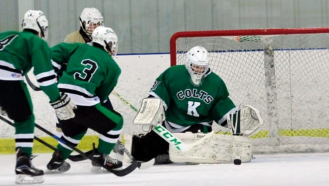 Kinnelon goalie Sean Hofmann (31) stopped 16-of-17 Morristown shots on Saturday to lead the Colts to their first Mennen Division win of the season, 2-1.