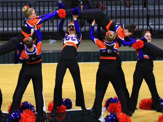Garden City's varsity pom team is pictured executing