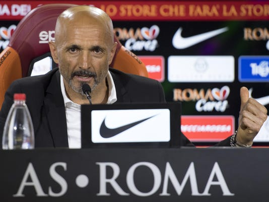 Outgoing Roma coach Luciano Spalletti speaks during his last press conference at the Fulvio Bernardini Sports Center in Trigoria, Rome, Tuesday, May 30, 2017. Roma announced the departure of Luciano Spalletti on Tuesday, May 30, 2017 in an expected move that frees the coach to sign with Inter Milan.  (Maurizio Brambatti/ANSA via AP)
