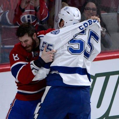 Montreal Canadiens forward Brandon Prust (8) fights