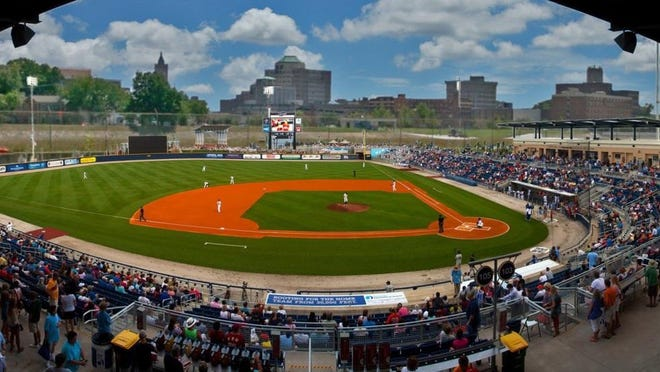 This photo illustration shows what a 5,000-seat baseball stadium could look like at the former Champion Paper property in Hamilton. Developers planning an indoor and outdoor sports complex at the site used Pensacola Bayfront Stadium, home of the Cincinnati Reds Double-A affiliate Pensacola Blue Wahoos, as an example of what the site could house.