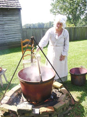 Dying wool at the Dickinson Plantation