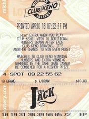 Mardi Swiss' winning Club Keno The Jack ticket.