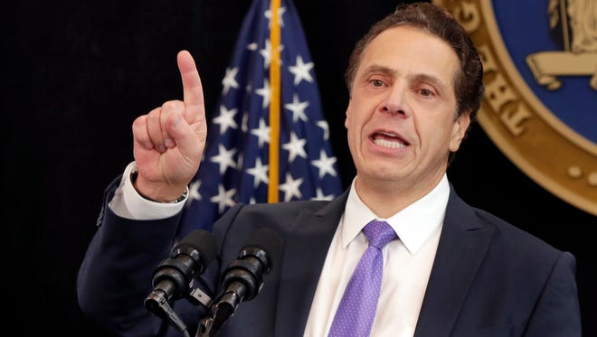 New York Gov. Andrew Cuomo, speaking Jan. 9, 2017, in New York City, said his still will keep its targets to reduce greenhouse-gas emissions in spite of President Trump's June 1, 2017, decision to exit the Paris climate accord.