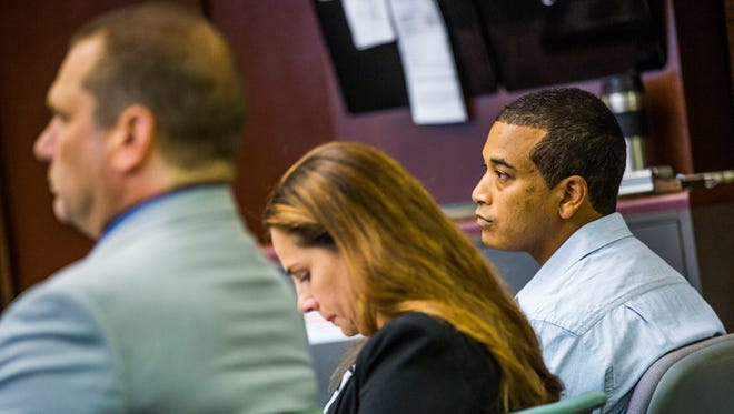 Rene Miles, charged with DUI manslaughter, leaving the scene of a crash involving a death and three counts of DUI causing serious bodily injury, during the first day of his trial at the Collier County Courthouse on Tuesday, June 13, 2017.