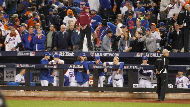 The Mets could only watch the Giants celebrate at the end of the wild-card game at Citi Field on Wednesday, Oct. 5, 2016. (Staff Photographer)