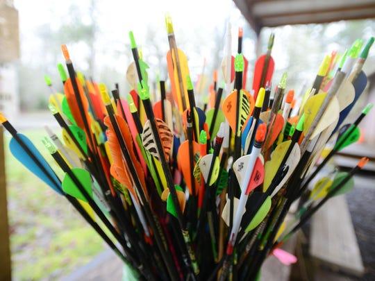 A bucket of arrows at Wapiti Bowmen archery range on Saturday, Jan. 17, 2015, near Lacomb.