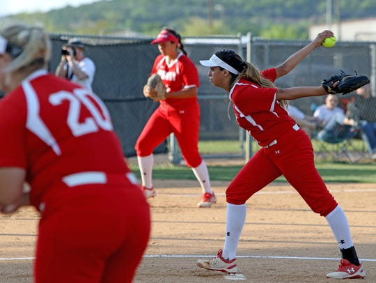 Albany's Reyna Garcia pitches against Petrolia Thursday,