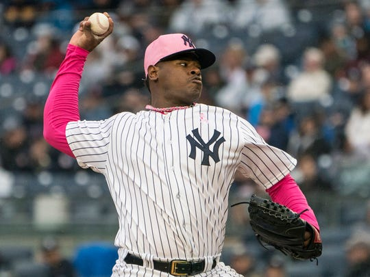 New York Yankees pitcher Luis Severino (40) delivers a pitch during the first inning.