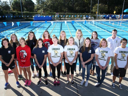 The 2016 All-Big Bend girls swimming and diving first team. Front row, from left: Co-Swimmer of the Year Morgan Ayers (Chiles), Olivia Kercheval-Roig (Leon), Arianna Chambasian (Maclay), Sara Kellett-Clark (Lincoln), Emma Curry (Lincoln), diver Kendall Minter (Maclay), Saige Kemeny (Lincoln), Erika Kamata (Lincoln); Back row, from left: Kealyn Bowie (Chiles), Co-Swimmer of the Year Stephanie Holmes (Chiles), Virginia Russell (Leon), Savanah Crutchfield (Chiles), diver Ulyana Shumnyk (Rickards), Diver of the Year Rainey Vause (Chiles), Coach of the Year Kyle Goller (Lincoln).