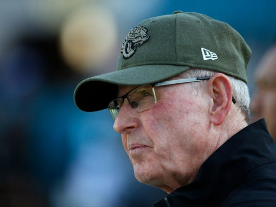 This photo taken Aug. 29, 2019, shows Tom Coughlin, then the executive vice president of football operations for the Jacksonville Jaguars, watching players warm up before a preseason football game in Jacksonville, Fla.