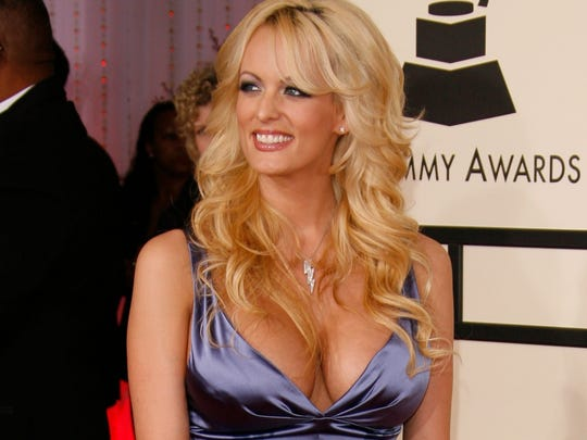 Stormy Daniels arrives at The 50th Annual Grammy Awards