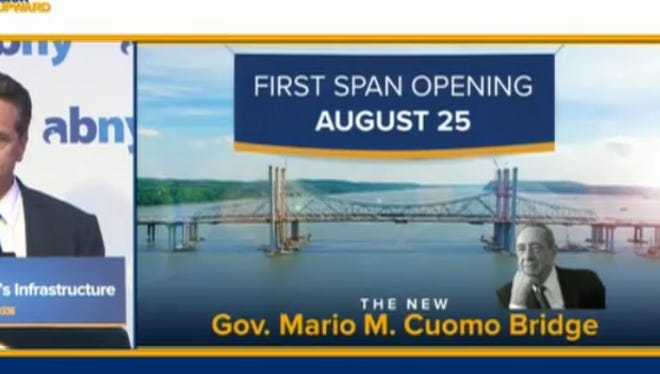 Gov. Andrew Cuomo on Thursday, July 27, 2017, said the new Tappan Zee Bridge is set to open August 25, 2017.