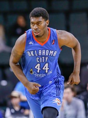 Dakari Johnson plays for Oklahoma City Blue of the NBA D-League during a recent game against Austin.