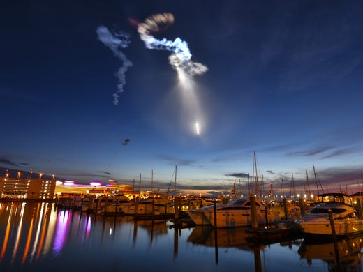 Launch of a SpaceX Falcon 9 rocket during a supply mission