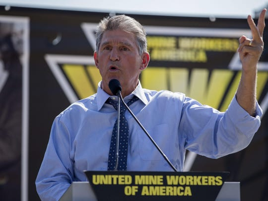 Sen. Joe Manchin, D-W. Va., delivers remarks during a rally at the US Capitol in Washington, D.C., on Sept. 8, 2016.