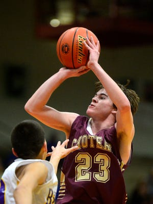 Choteau's Derrek Durocher shoots a jump shot during Choteau's first-round game against St. Labre in the Class B State Basketball Tournament in the Pacific Steel and Recycling Four Seasons Arena on Thursday.