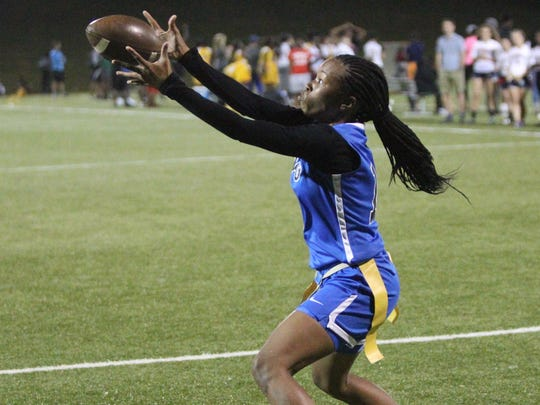 Godby hauls in a touchdown catch during the 2018 flag