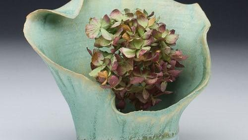 Porcelain ikebana by Chad Luberger, who is featured in Art Show 3 on April 8 at Plum Bottom Pottery & Gallery.