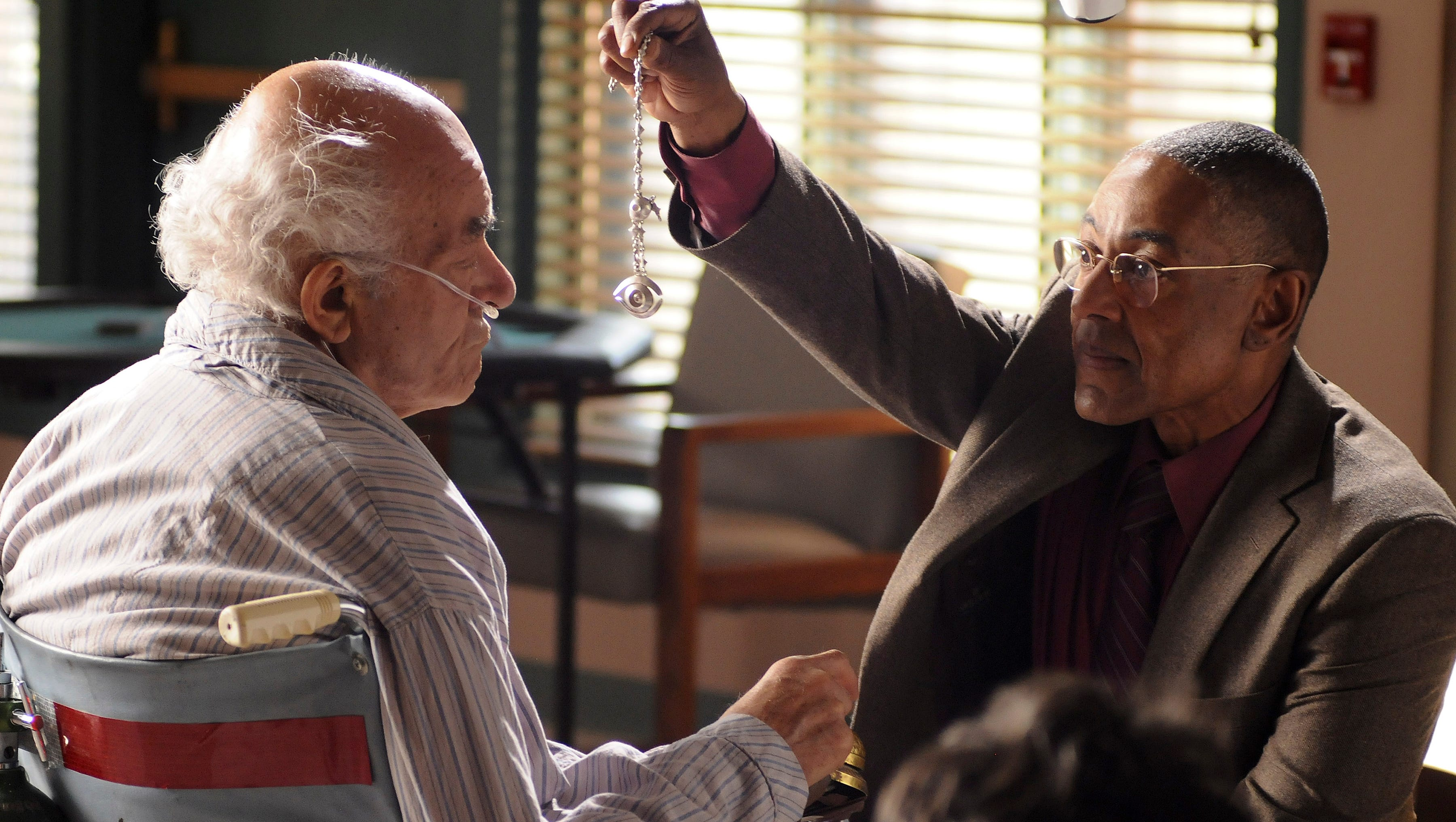 "'Face Off' (Season 4, episode 13): Gus Fring (Giancarlo Esposito, right) comes to a nursing home to kill drug cartel member Tio (Marc Margolis). But Walt has rigged Tio's wheelchair with a bomb, which detonates and rips off Fring's face, killing him. The difficulty, Gilligan says, wasn't in the explosion, but the timing of cameras, nurses and Esposito afterward. ""The reactions had to be just right,"" he says. ""That took 19 takes, and we got it on the 19th. It was worth it."""