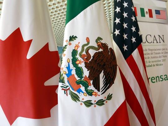 Banderas de Canadá, México y Estados Unidos, históricamente sólidos aliados comerciales.