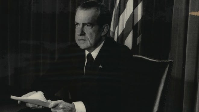 President Richard Nixon announces in a nationwide broadcast on Aug. 8, 1974, that he will resign the presidency.