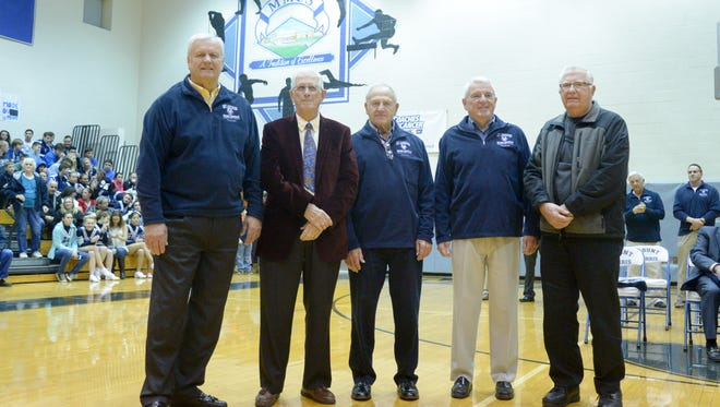 The starting five from the 1955 Section V championship team of Dave Sawyer, Joe LaChusia, Bob Kelley, Tom Sardinia and Lowell Nichols was honored during the Mount Morris Hall of Fame ceremony Dec. 4 in Mount Morris.