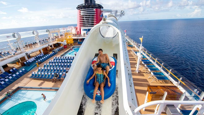 Disney's two newest ships, Disney Dream and Disney Fantasy, are home to a deck-top water coaster called the AquaDuck.