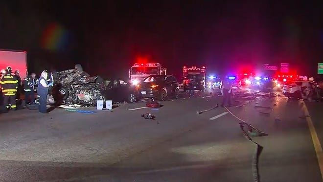 This image was taken from video footage of a Milton crash in which a 24-year-old Stoughton man was killed while driving on the wrong side of I-93.