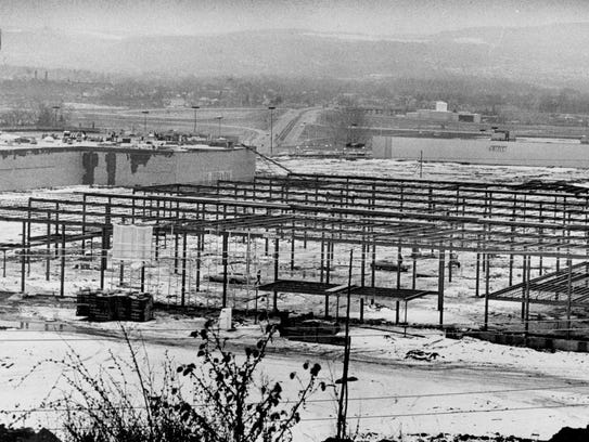 Construction continues on the Oakdale Mall, around
