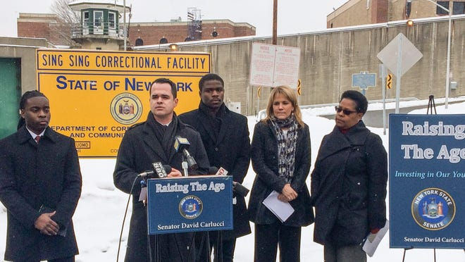 State Sen. David Carlucci during a Jan. 30 press conference outside Sing Sing Correctional Facility in Ossining, in support of the Raise The Age initiative.