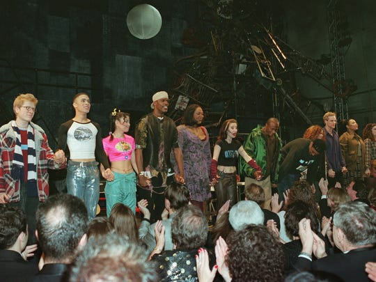 """The original cast of """"Rent"""" takes a curtain call after"""