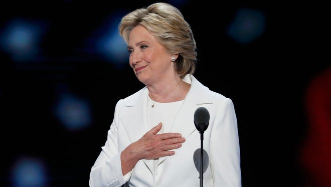 Democratic presidential nominee Hillary Clinton finishes her speech during the final day of the Democratic National Convention in Philadelphia , Thursday, July 28, 2016.