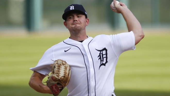 Detroit Tigers pitcher Tyler Alexander throws against the Chicago White Sox in the first inning of a baseball game in Detroit, Tuesday, Aug. 11, 2020.