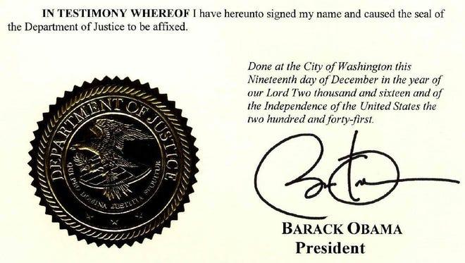 Dec. 19 commutation signature by President Barack Obama