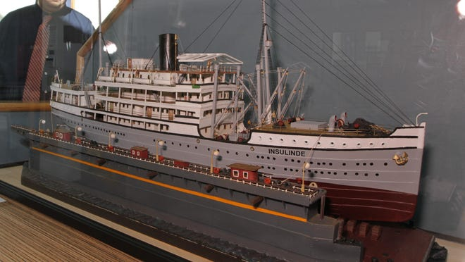 A model of the Insulinde is displayed at the Ship History Center in Warwick.