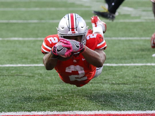 Ohio State running back J.K. Dobbins (2) dives for the touchdown during the second half against Maryland at Ohio Stadium.