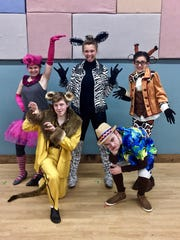 """""""Five Zoosters"""" who decide to explore the outside world in Treehouse Theater's production of """"Madagascar Jr."""" Pictured are, from left, front row: Noah Babich (playing the role of Alex the lion) and Jake Puestow (Mason the chimpanzee); and back row: Alexa Malley (Gloria the hippo), Julie Rohrer (Marty the zebra) and Anna Gallagher (Melman the giraffe)."""
