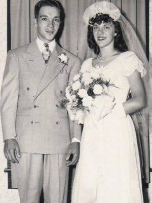 Leslie and Audrey Wade, on their wedding day, July 2, 1950.