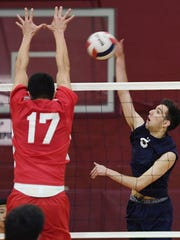 Lakeland vs. Wayne Valley in the Passaic County boys volleyball tournament finals at Clifton High School on Saturday, May 13, 2017. (right) WV #5 Matt Widovic.