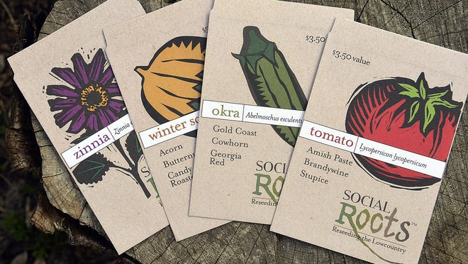 Seed packages of heirloom varieties of vegetables and flowers.