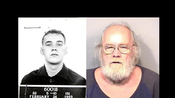 Left: Frank Freshwaters in 1959. Right: Freshwaters in a May 2015 mugshot.