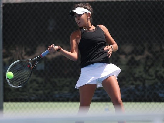 Chiles' No. 2 singles player Sofia Guerrero takes on Niceville in a Region 1-3A final at Chiles High School on Thursday, April 20, 2017.