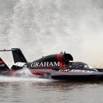 Jesse Robertson in the U-7 Graham Trucking finishes second in his first heat on the Ohio River during the Madison Regatta in Madison, In. July 5, 2015