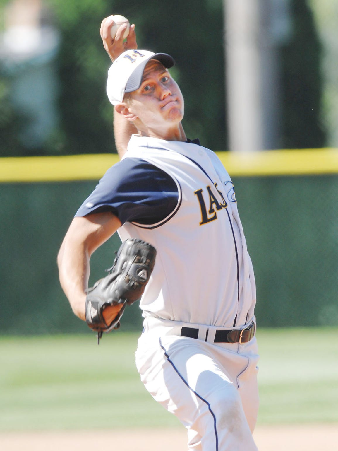 Kettle Moraine's Cody Smith pitches against West Bend West in the 2008 state quarterfinal. Smith pitched a complete game to lead the Lasers past the defending state champions, 4-1. Kettle Moraine advanced to the state title game that year.