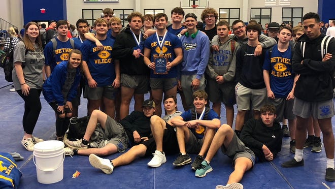 Members of the Bethel High School powerlifting team pose after regionals this past weekend.