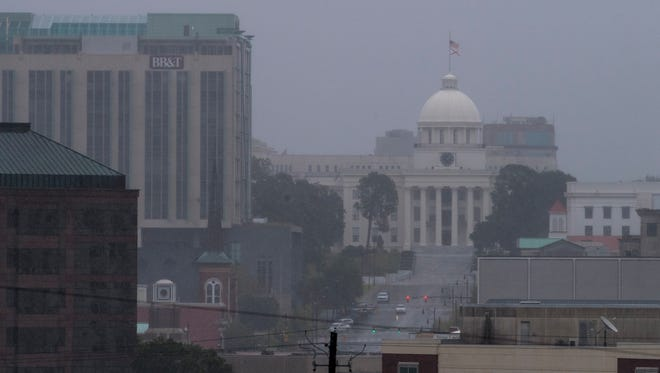 Rain falls on the Alabama State Capitol Building as the remnants of Irma arrive in Montgomery, Ala. on Monday afternoon September 11, 2017.