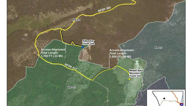 The proposed Killpecker communications site is one-half mile away from the intially proposed site on Middle Bald Mountain.